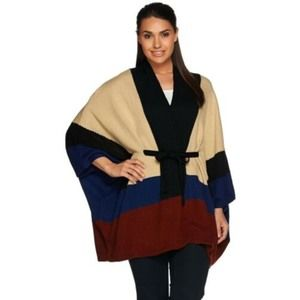 C Wonder Color Block Belted V Neck Poncho Wrap